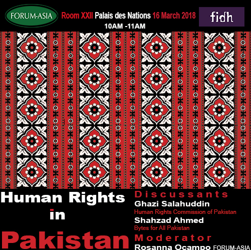 HRC37 Side Event: Human Rights in Pakistan « FORUM-ASIA