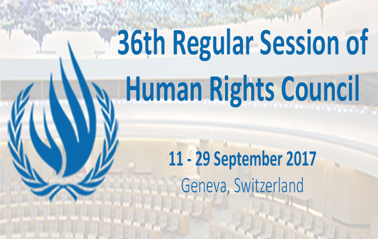The 36th Session of the Regular UN Human Rights Council from 11-29 September
