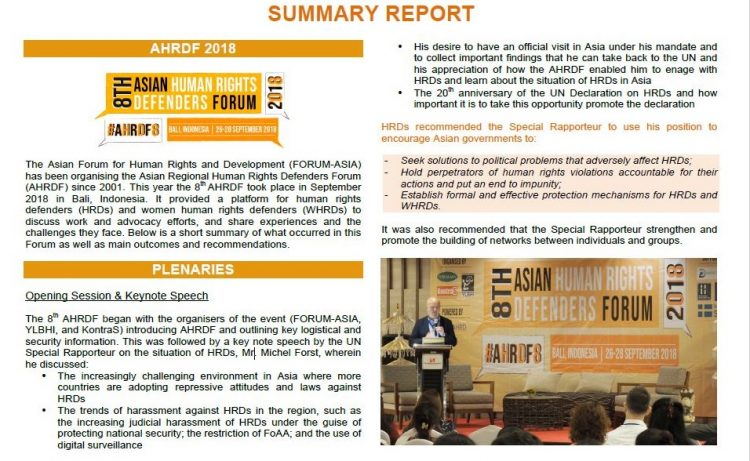 Summary Report of the 8th Asian Regional Human Rights Defenders Forum