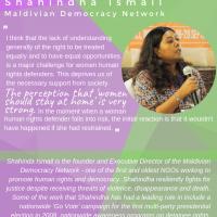 Shahindha Ismail from Maldivian Democracy Network