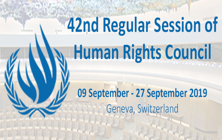 The 42nd Regular Session of the UN Human Rights Council from (09 September – 27 September 2019)