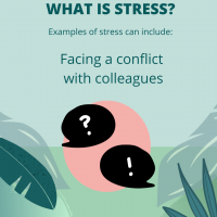 Stress is facing a conflict with colleagues